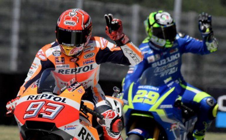Iannone Sukses Pecundangi Marquez Setelah Ganti Ban