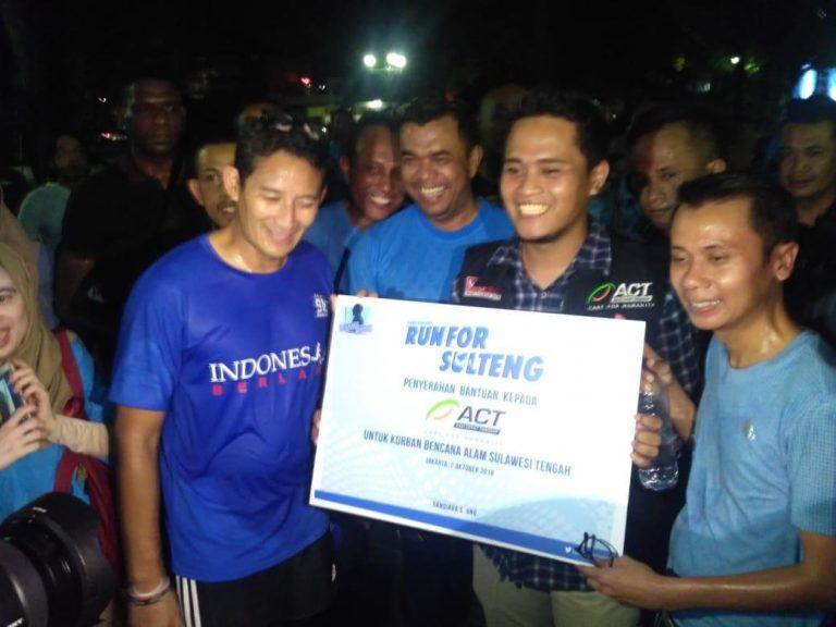 Bantu Korban Gempa di Palu dan Donggala, Sandiaga Uno Lari 5,2 Kilometer