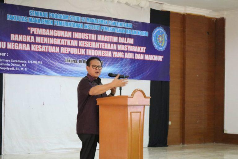 Kuliah Umum di IPDN, Rokhmin Dahuri paparkan Pembangunan Ekonomi berbasis Maritim