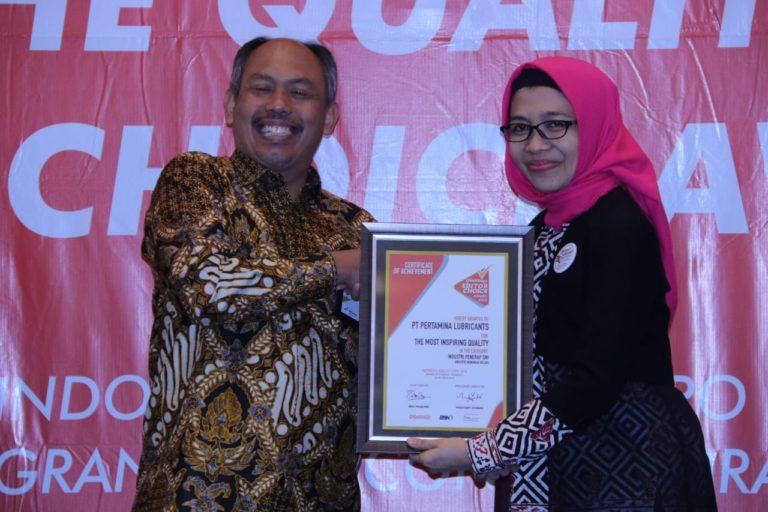 Penerapan SNI Pertamina Lubricants Diganjar Penghargaan 'The Most Inspiring Quality'