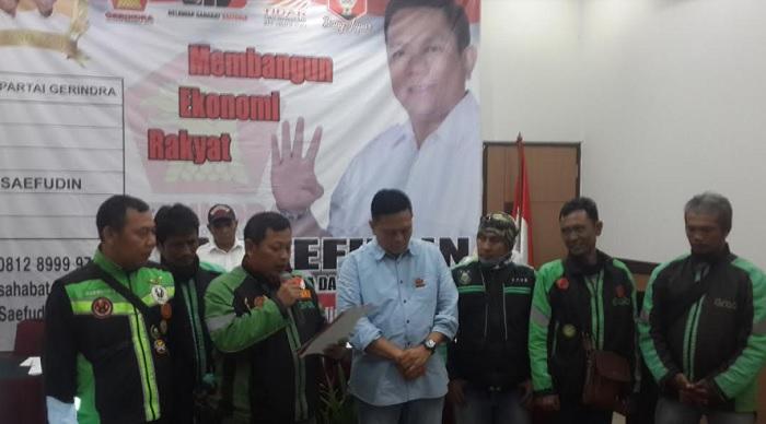 Datangi Hotel Arcici, Ojol Jakut Deklarasi Dukungan Saefudin Jadi Wakil Rakyat Jakarta