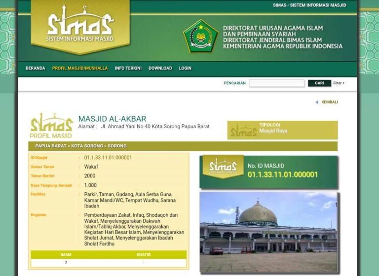 Kemenag Sajikan Data Masjid dan Mushalla di Aplikasi SIMAS
