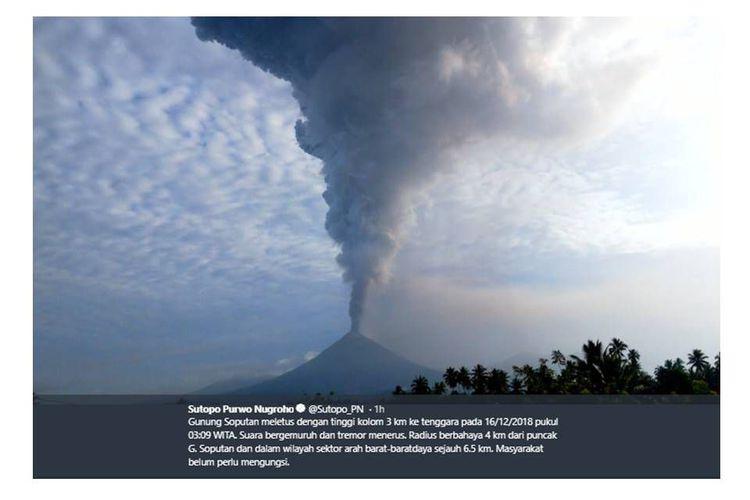 Gunung Soputan Meletus, Begini Imbauan PVMBG