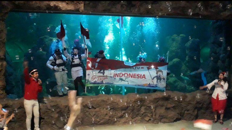 Menakjubkan! Seaworld Kibarkan Bendera Merah Putih di Bawah Air