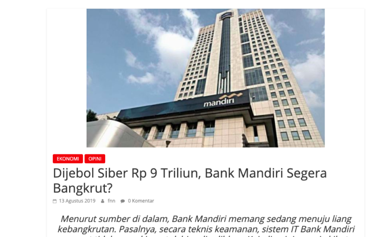 Bank Mandiri Polisikan Pembuat Informasi Hoaks Serangan Siber dan Kebangkrutan