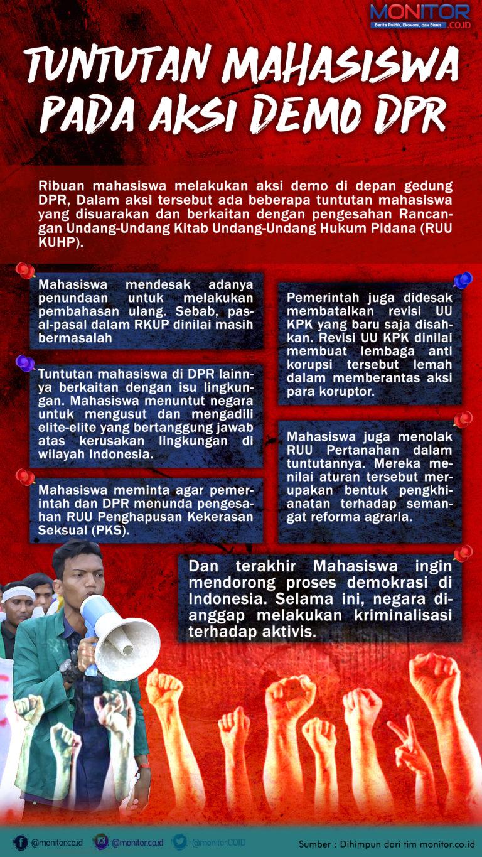 Tuntutan Aksi Mahasiswa terkait Pembahasan UU Kontroversial