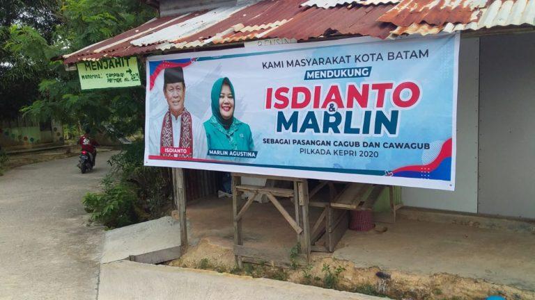 Pilgub Kepri 2020; Spanduk Pasangan Isdianto-Marlin Bertebaran di Kota Batam