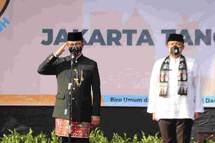 Jadi Inspektur Upacara di HUT DKI, Anies Sebut Jakarta Kota Tangguh