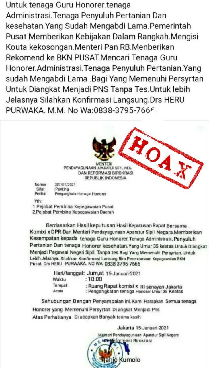 Surat Palsu Menpan RB Soal Pengangkatan PNS Kembali Beredar